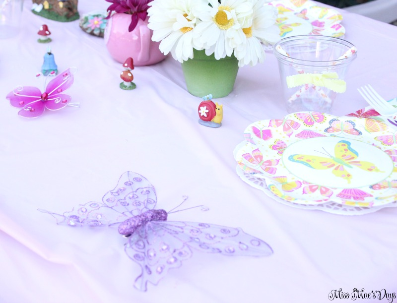 Dollar Store Garden Party Tablescape, butterflies