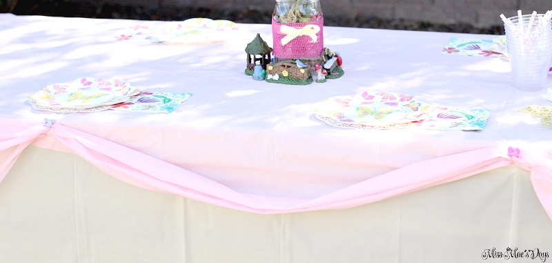 Dollar Store Garden Party Tablescape, double layer plastic table cloths and create pick ups