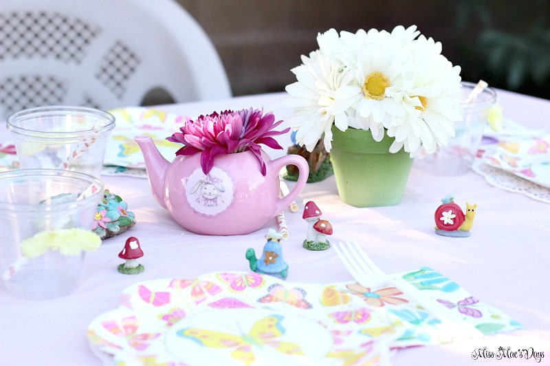 Dollar Store Garden Party Tablescape figurines