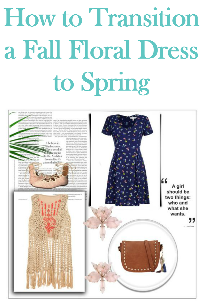 Transition your fall floral dress into a style that is perfect for Spring by adding pastel accessories!