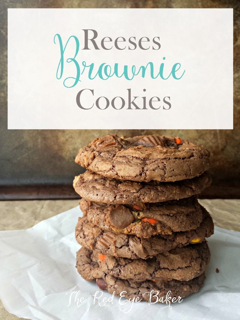 Reeses Brownie Cookies | Crispy edges of a cookie with the gooey center of a brownie. These Reeses Brownie Cookies will have you hiding in your closet because you won't want to share!