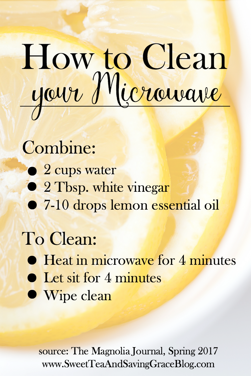Joanna Gaines shared a simple & effective way to clean your microwave in the Spring 2017 issue of The Magnolia Journal. I tried it - it works like a dream! I recommend using lemon essential oil for that fresh, clean smell, too!