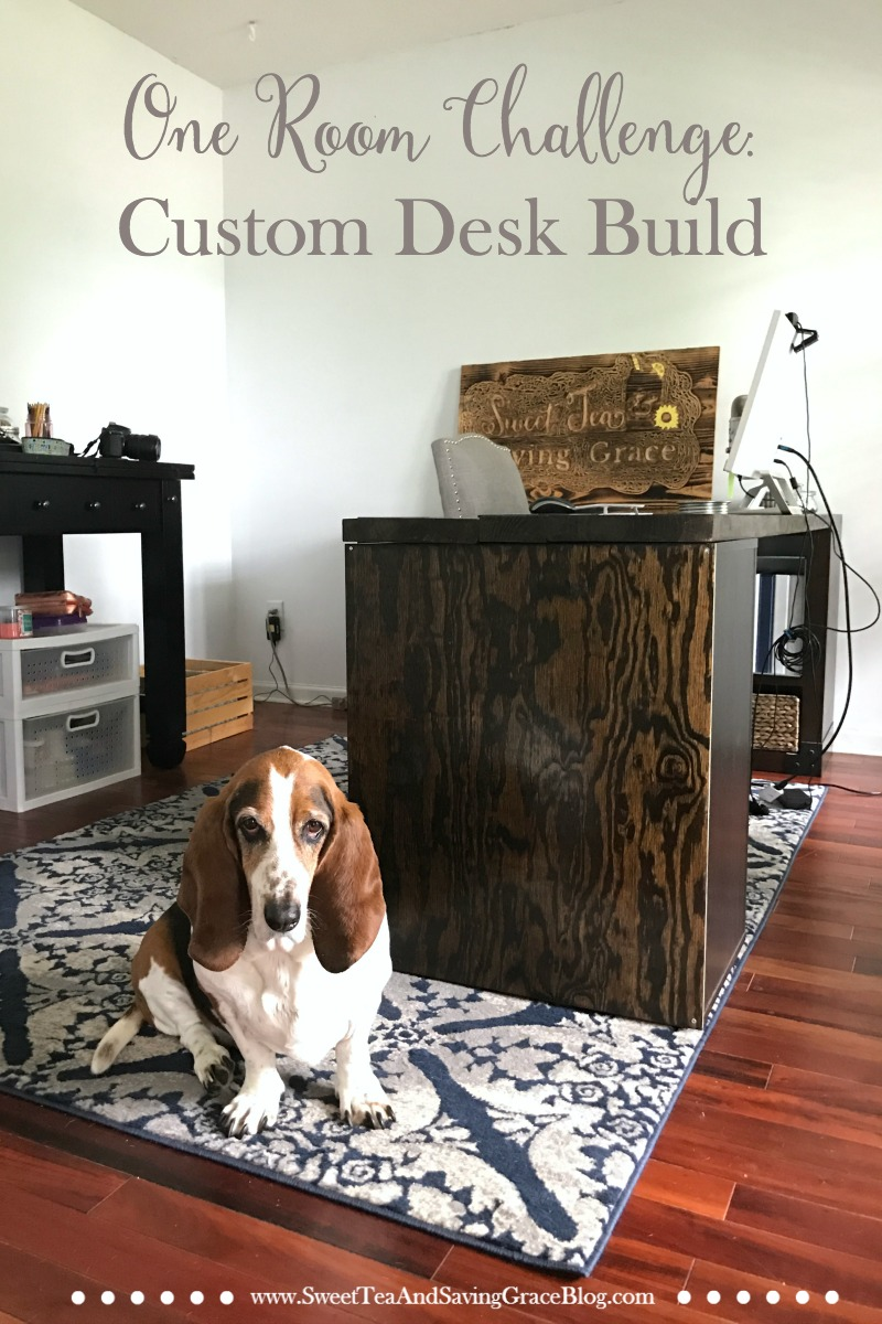 One Room Challenge continues with my custom desk build, creating a beautiful L-shaped desk from a console table, IKEA Alex drawer unit, and 2x10s.