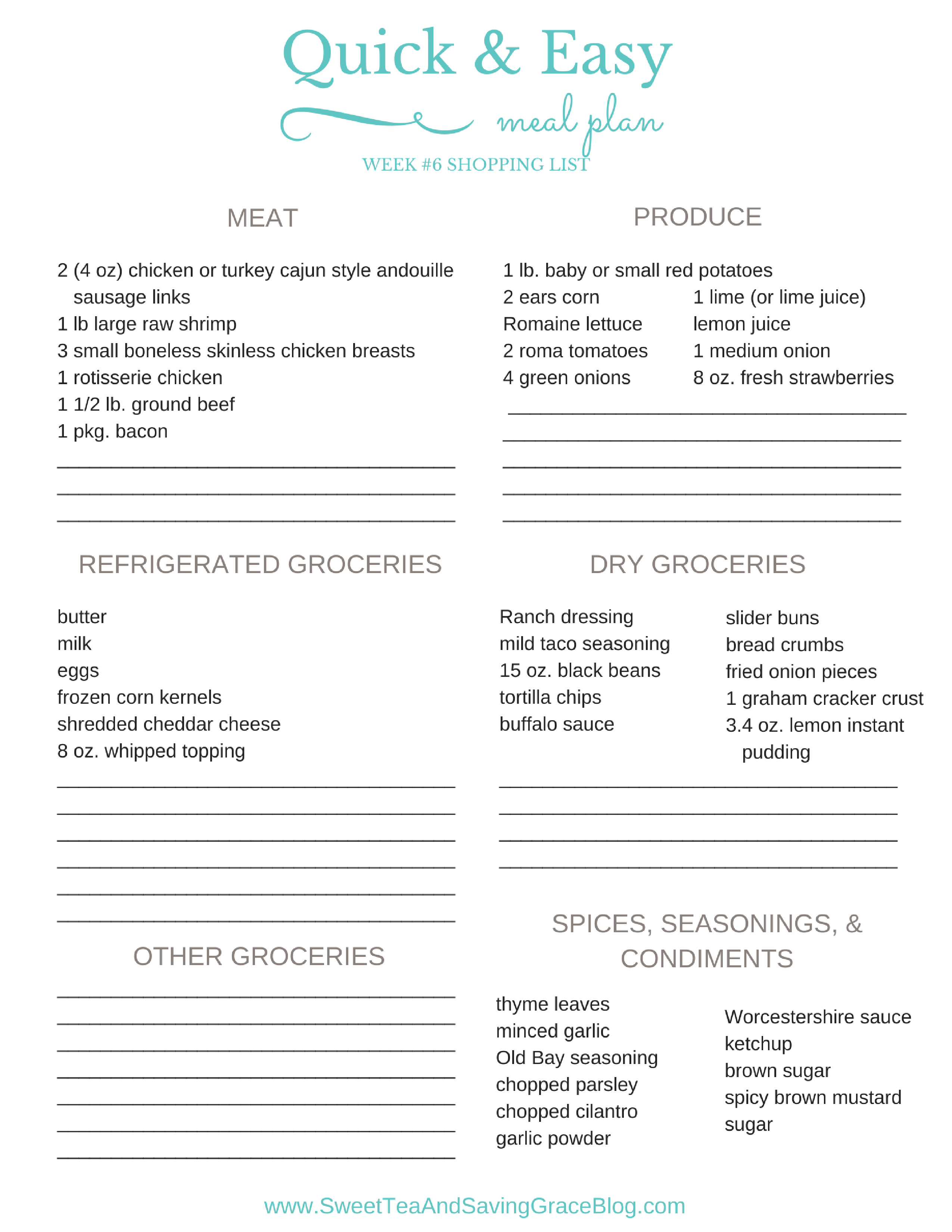 Download this free printable shopping list and consider this week's meal plan done!