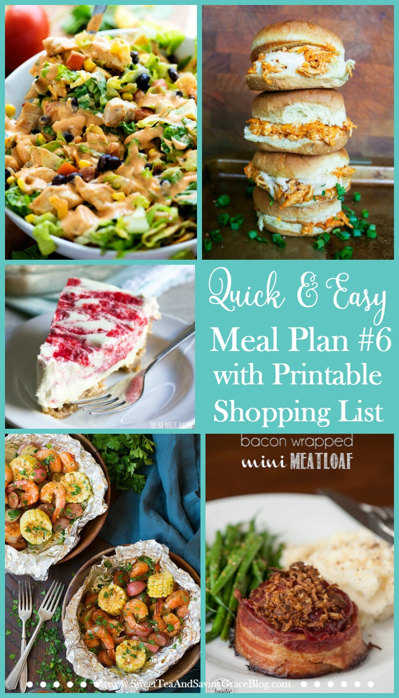 Meal planning doesn't have to suck. These are quick & easy meals that will be easy to fix during a busy week. Plus, there's a printable shopping list to make things even easier!