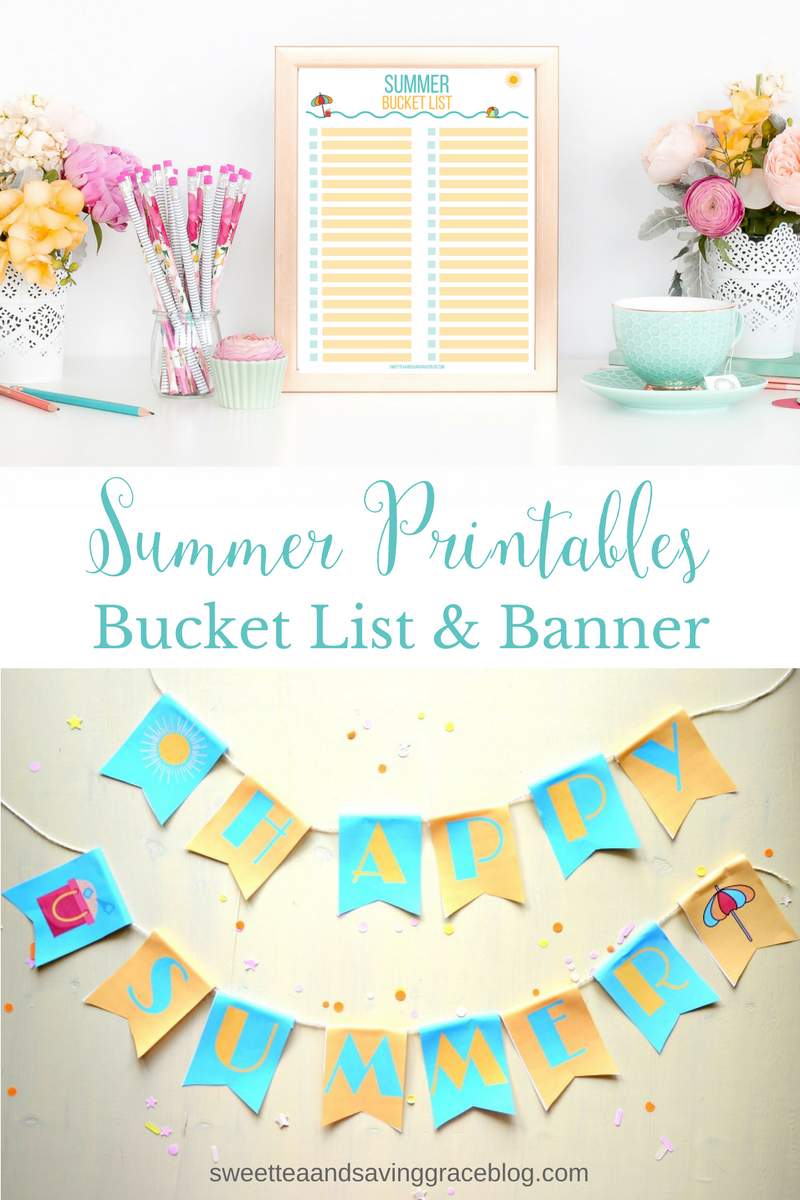 "Celebrate summer with this FREE summer bucket list printable! Plus, grab your ""Happy Summer"" printable banner and hang it for all of your summer festivities!"