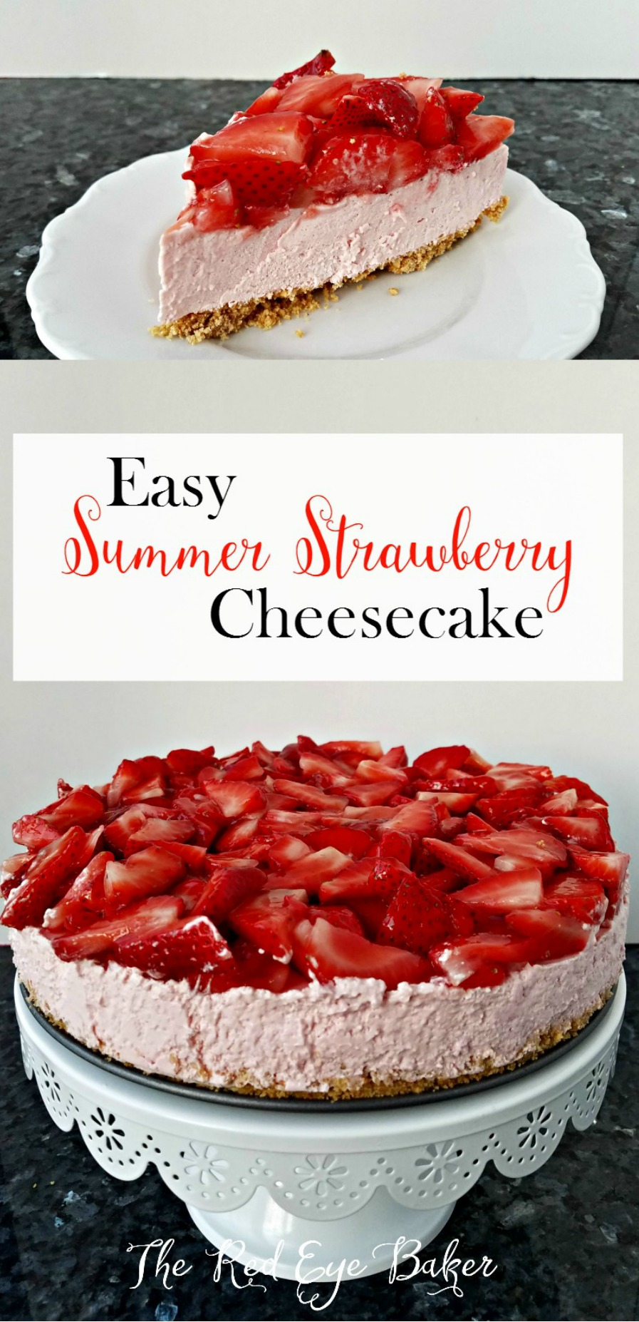 Easy Summer Strawberry Cheesecake | Beat the summer heat with this no bake and simple, light and tasty, summery strawberry dessert!