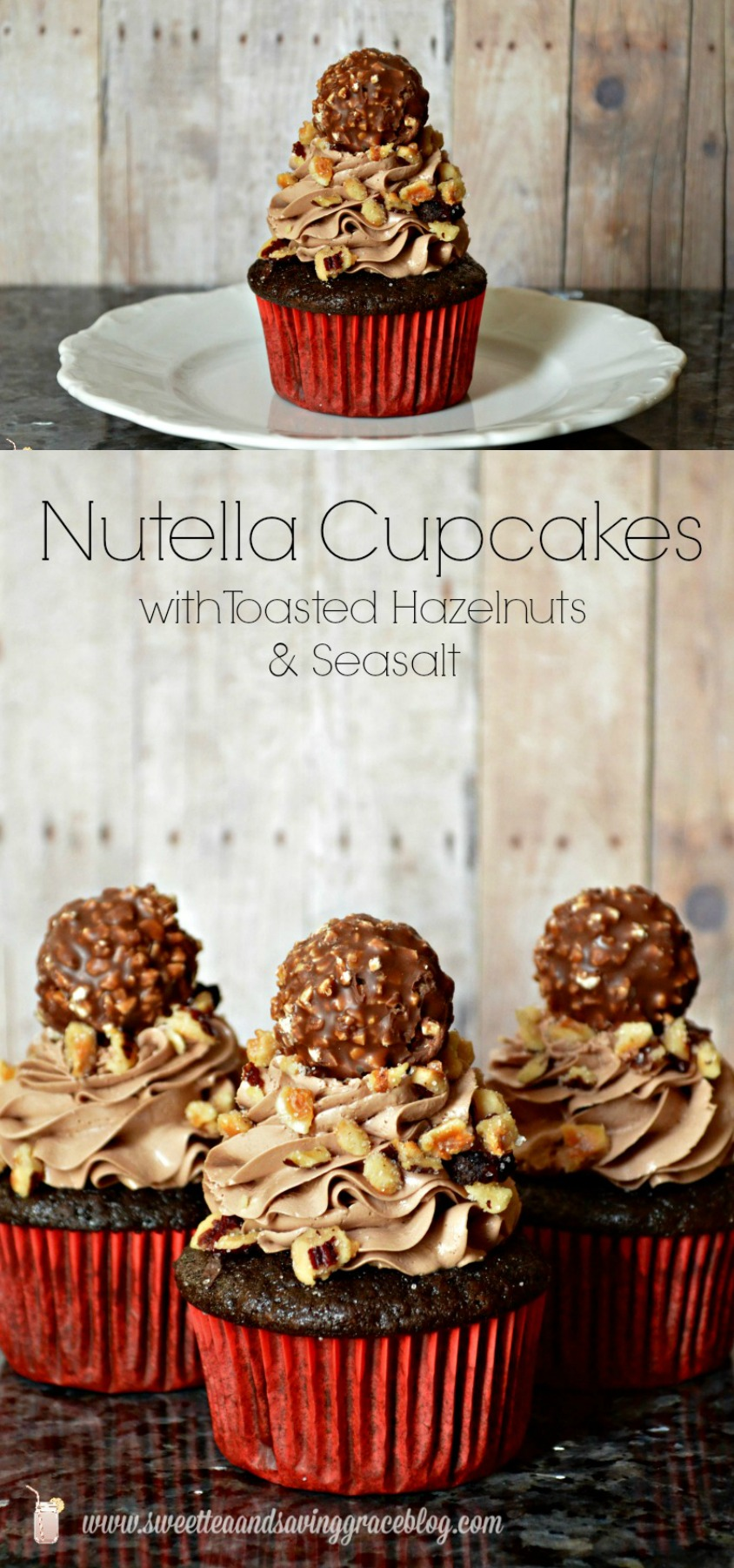 Nutella Cupcakes with toasted hazelnuts and sea salt and so scrumptious! They're perfect for your sweetheart, or to share at a party, but they're so good you'll want to keep them to yourself!