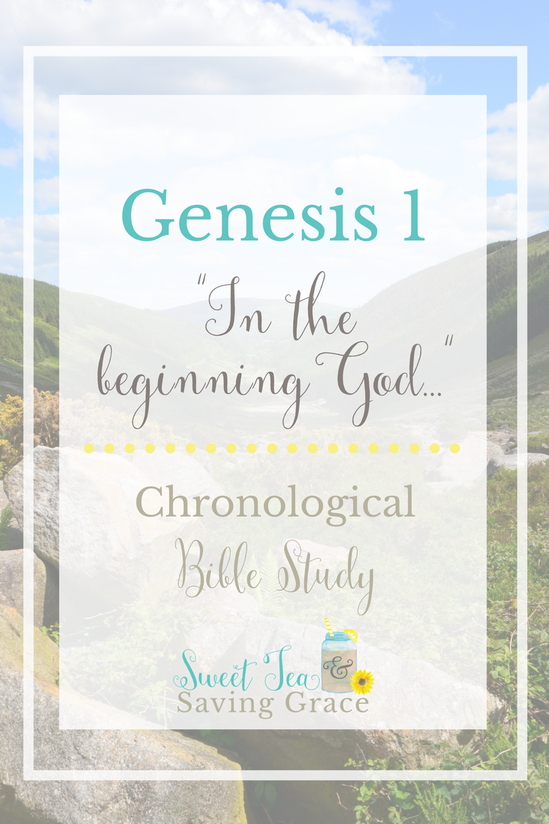 """As I begin my chronological study of the bible, I'm studying Genesis 1, the first six days of Creation. God created the heavens and the earth in six days. There are so many truths and insights in this first chapter of the bible, particularly in the first four words: """"In the beginning God..."""""""