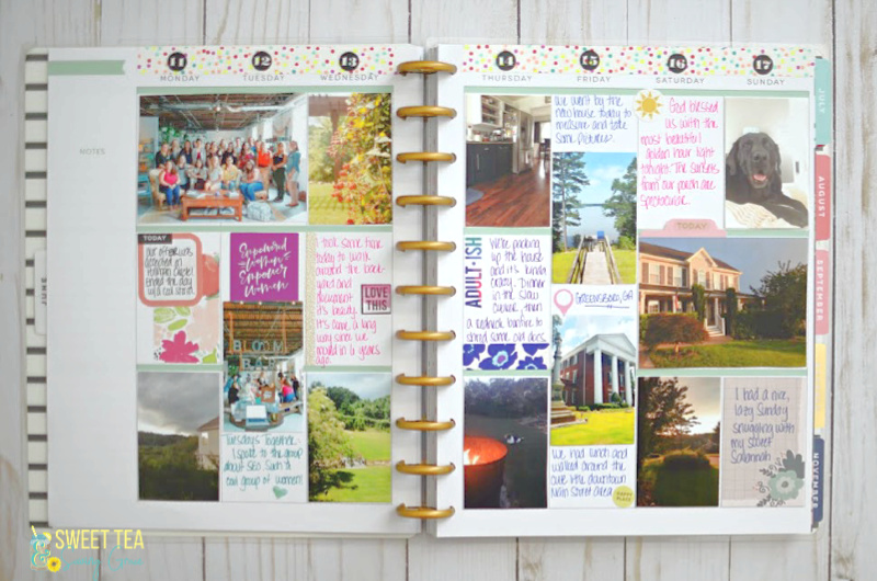 Easy tips for getting started with memory keeping in The Happy Planner, like how to print your pictures to size, what supplies you need, and simply layout ideas.
