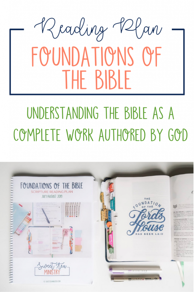 The Foundations of the Bible reading plan is a 2-month plan that takes you through the entire Bible, helping you have an understanding of the Bible as a complete work authored by God.