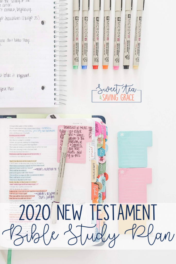 Do you have a New Year's resolution to study the BIble? If you're ready to dig deeper into scripture, follow this New Testament Bible Study plan, reading one chapter each day (with a few breaks) for an entire year!