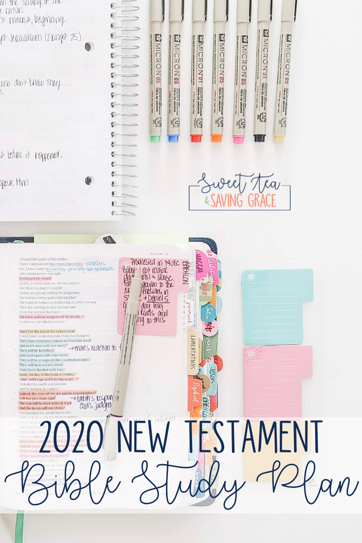 2020 New Testament Bible Study Plan | Do you have a New Year's resolution to study the BIble? If you're ready to dig deeper into scripture, follow this New Testament Bible Study plan, reading one chapter each day (with a few breaks) for an entire year!