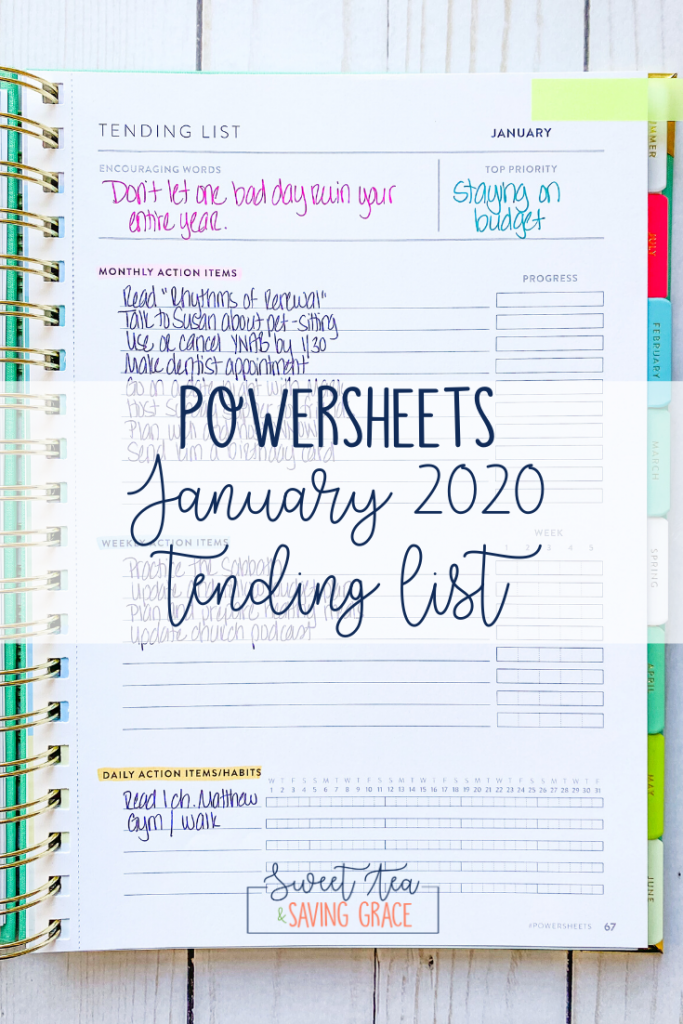 It's a new year and new decade, and a new set of PowerSheets! Check out my January 2020 goals and tending list.