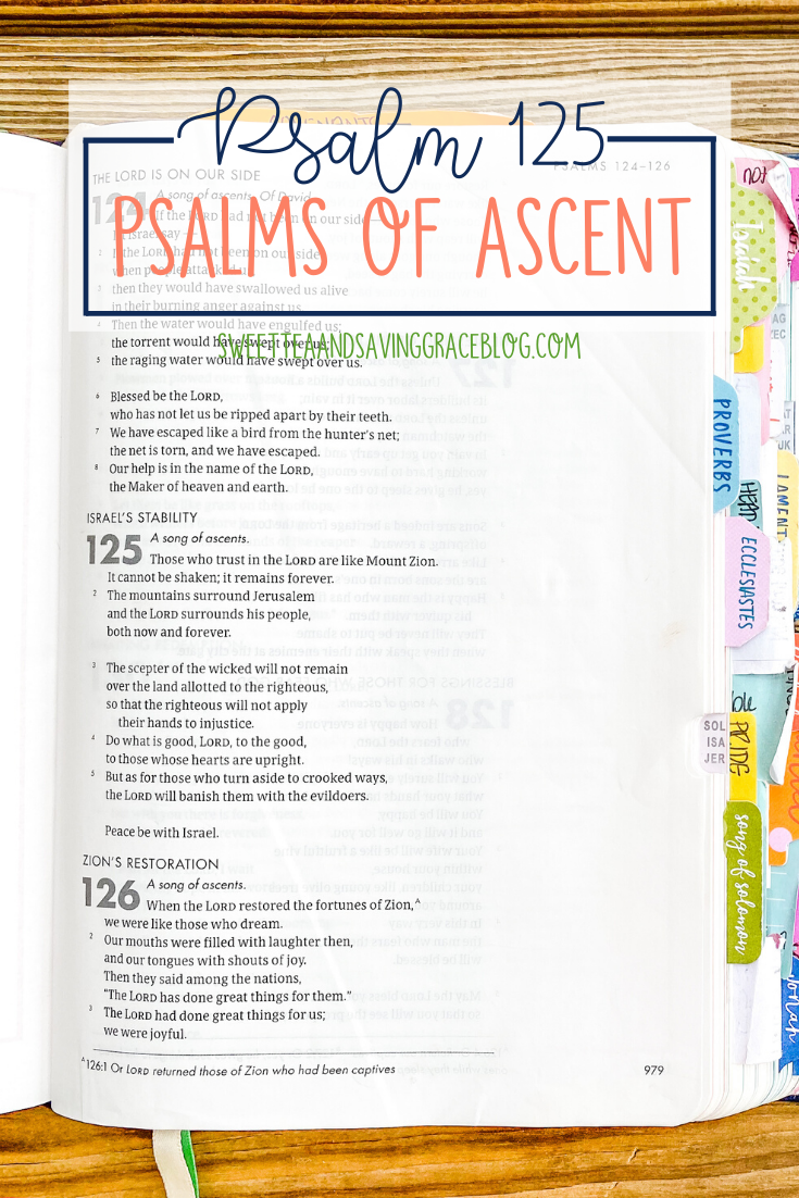The Psalms of Ascent are a set of fifteen psalms that were traditionally sung as priests entered the temple, and Jews journeyed to the Holy Land to celebrate the Passover Festival. They offer hope, encouragement, and peace in a time of uncertainty. Today we will read and discuss Psalm 125, the sixth psalm in the psalms of ascents.