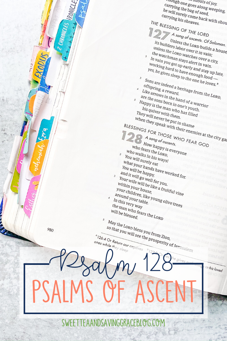 The Psalms of Ascent are a set of fifteen psalms that were traditionally sung as priests entered the temple, and Jews journeyed to the Holy Land to celebrate the Passover Festival. They offer hope, encouragement, and peace in a time of uncertainty. Today we will read and discuss Psalm 128, the ninth psalm in the psalms of ascents.