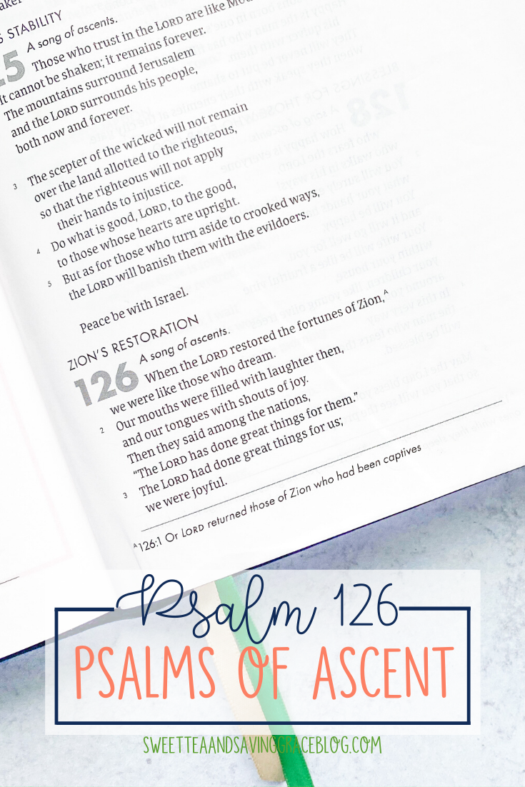 The Psalms of Ascent are a set of fifteen psalms that were traditionally sung as priests entered the temple, and Jews journeyed to the Holy Land to celebrate the Passover Festival. They offer hope, encouragement, and peace in a time of uncertainty. Today we will read and discuss Psalm 126, the seventh psalm in the psalms of ascents.