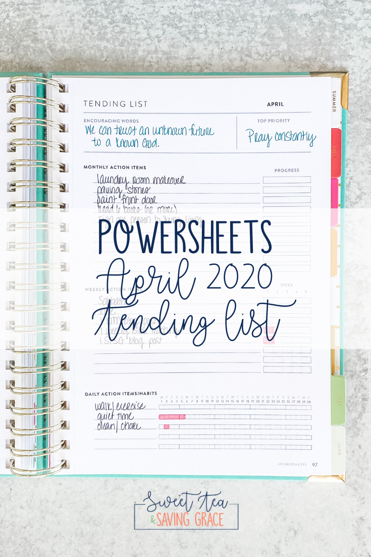 PowerSheets April 2020 Tending List