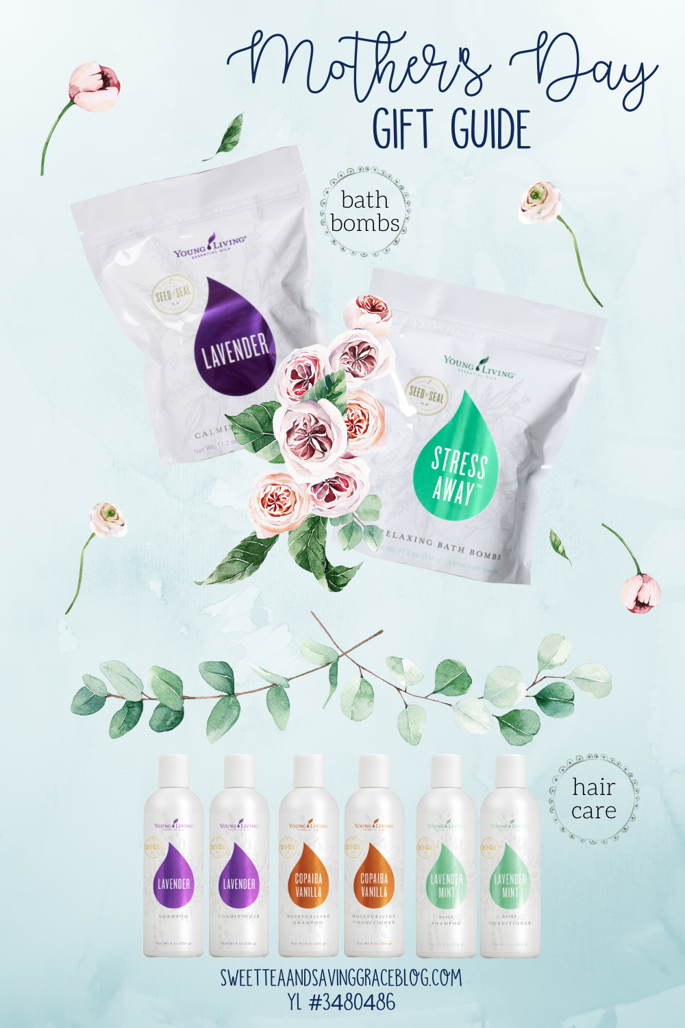 mother's day wellness gift guide young living essential oils non-toxic all-natural spa treatment lavender bath bombs shower steamers essential oil shampoo conditioner