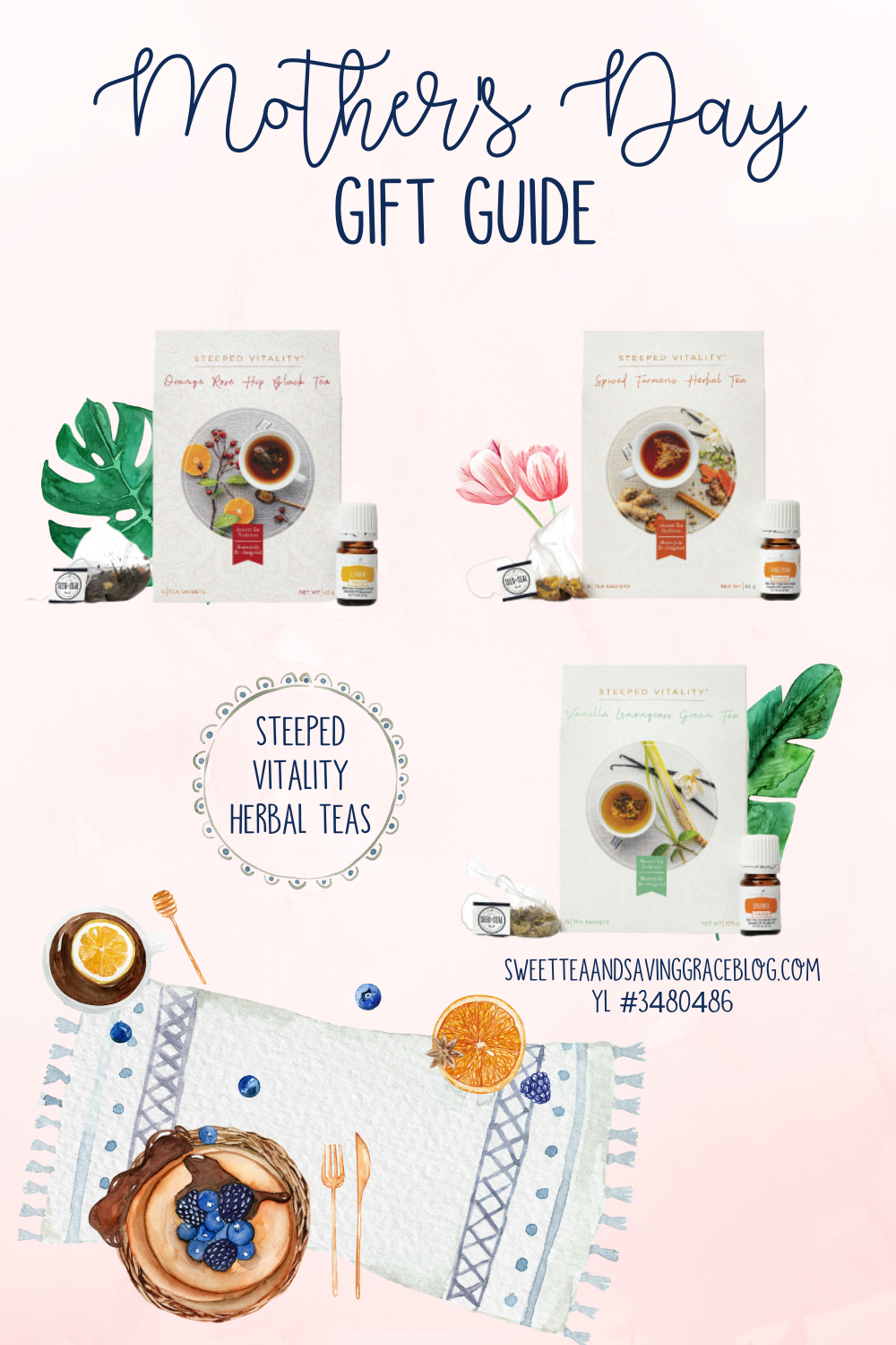 mother's day wellness gift guide young living essential oils steeped vitality herbal tea