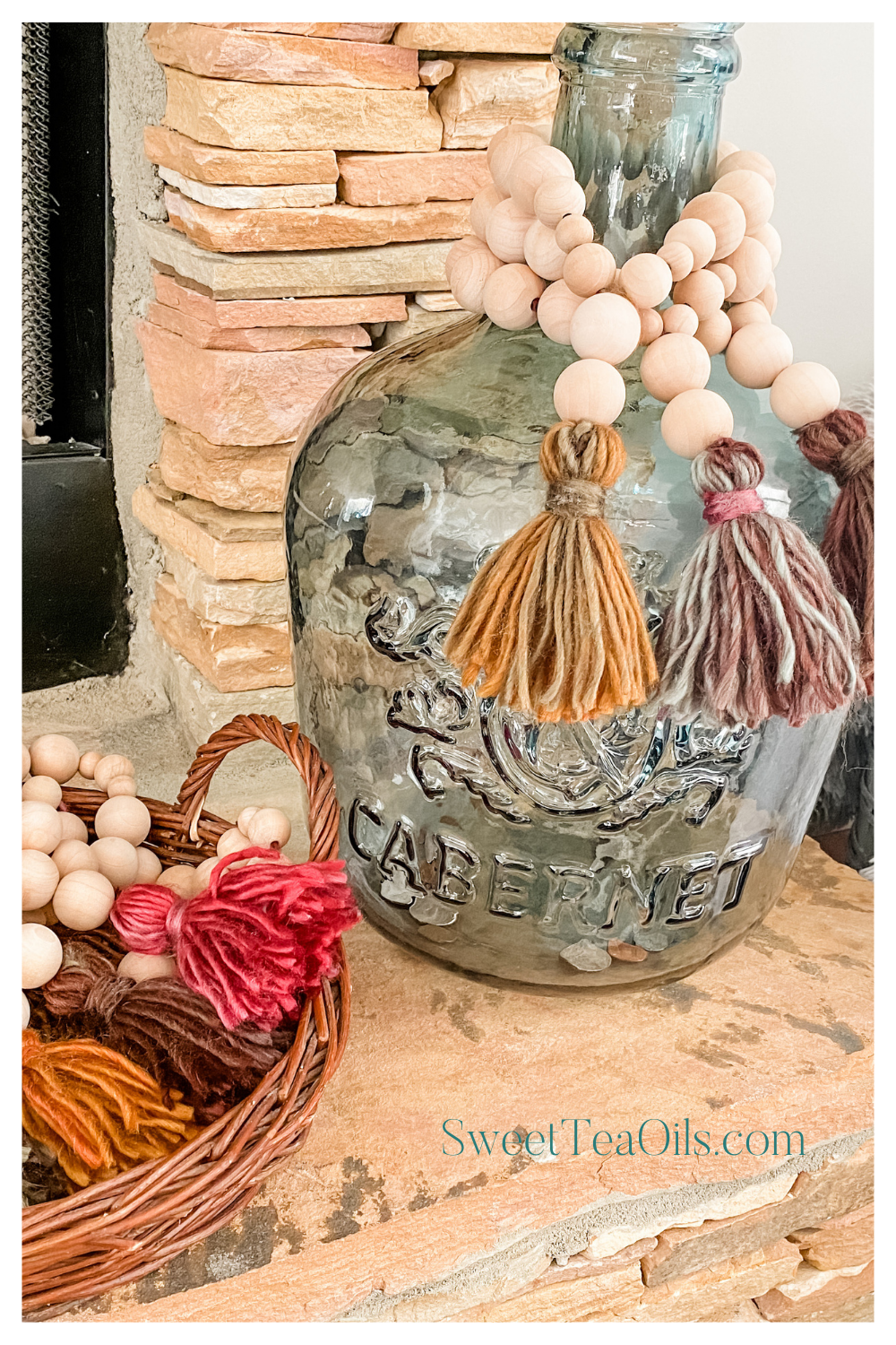 fall essential oil diffuser home decor wood bead garland with tassel